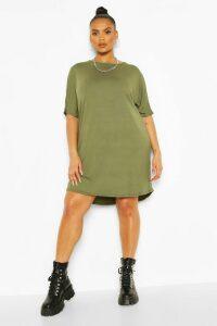Womens Plus Oversized T-Shirt Dress - Green - 18, Green