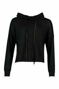 Womens Petite Fine Knit Hoody - black - 14, Black