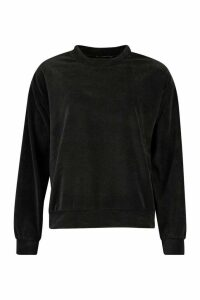 Womens Premium Velour Lounge Jumper - Black - 14, Black