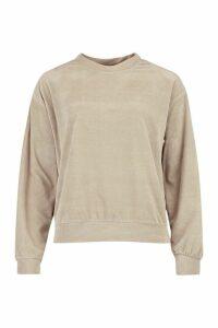 Womens Premium Velour Lounge jumper - beige - 16, Beige