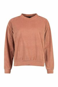 Womens Premium Velour Lounge Jumper - Pink - 8, Pink