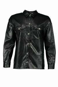 Womens Petite Oversize Leather Look Shirt - Black - 14, Black