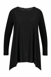 Womens Plus Dip Hem Longsleeve Tunic Top - black - 20, Black