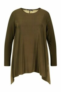 Womens Plus Dip Hem Longsleeve Tunic Top - Green - 20, Green