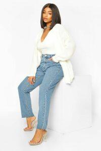 Womens Plus Edge To Edge Waffle Knit Cardigan - white - 20, White