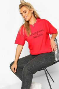 Womens Plus Curved Hips & Red Lips Slogan T-shirt - 20, Red