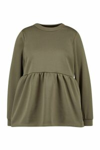 Womens Plus Super Soft Loopback Smock Top - green - 18, Green