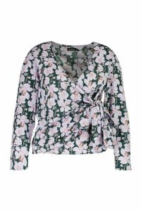 Womens Plus Floral Wrap Tie Blouse - Green - 24, Green