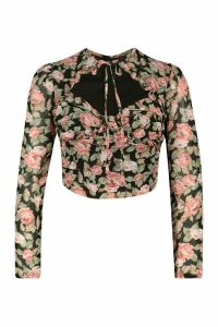 Womens Petite Floral Long Sleeve Tie Front Detail Top - Black - 14, Black
