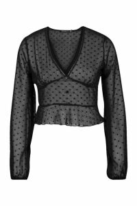 Womens Petite Dobby Mesh Long Sleeve Blouse - black - 14, Black