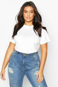 Womens Plus Basic Scoop Neck Tshirt - White - 28, White
