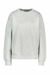 Womens Oversized Crew Neck Sweatshirt - grey - 16, Grey