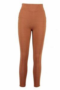 Womens Basic Deep High Waist Tonal Leggings - Brown - 16, Brown