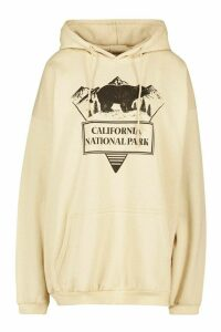 Womens California Park Slogan Hoodie - Cream - M, Cream