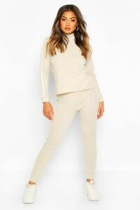 Womens Rib Side Stripe Top And Jogger Co-ord - beige - 14, Beige