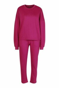 Womens Long Sleeve Boxy Top And Jogger Co-Ord - red - 14, Red