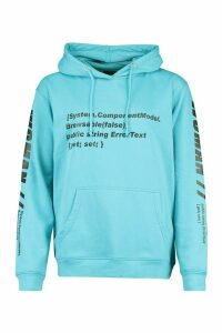 Womens Woman Sleeve Print Graphic Hoodie - blue - 14, Blue