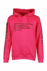 Womens Woman Sleeve Print Graphic Hoodie - Pink - 16, Pink