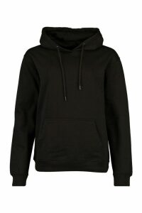 Womens Back Print Slogan Hoodie - black - 8, Black