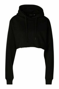 Womens Back Print Slogan Crop Hoodie - Black - 14, Black