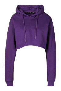 Womens Back Print Slogan Crop Hoodie - purple - 16, Purple