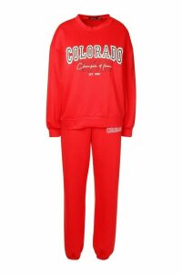 Womens Colorado Denver Oversized Jumper Tracksuit - Red - 14, Red
