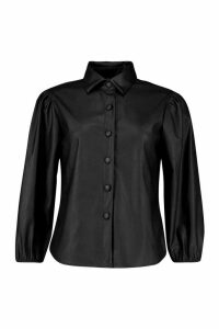 Pu Puff Sleeve Shirt - black - 10, Black