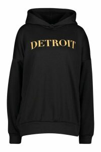 Womens Detroit Slogan Oversized Hoody - black - S, Black