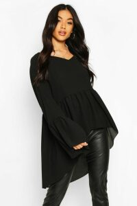 Womens Woven Flared Sleeve Smock Top - black - 10, Black