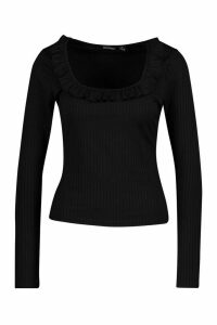 Womens Rib Ruffle Neck Top - Black - 6, Black