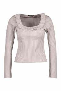 Womens Rib Ruffle Neck Top - grey - 6, Grey
