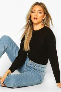 Womens Cropped Fisherman Jumper - black - M, Black