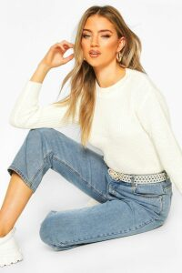 Womens Cropped Fisherman Jumper - white - M, White