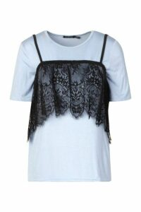Womens 2 In 1 T-Shirt & Removable Lace Cami - Blue - 14, Blue