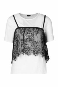 Womens 2 In 1 T-Shirt & Removable Lace Cami - White - 8, White