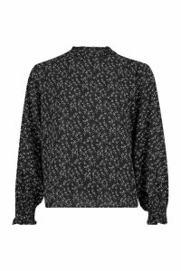 Womens Ditsy Print High Neck Blouse - black - 8, Black