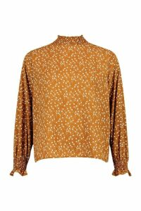 Womens Ditsy Print High Neck Blouse - orange - 12, Orange