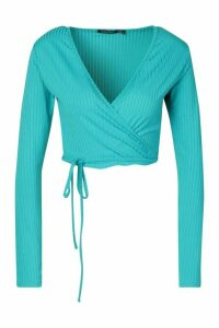 Womens Jumbo Rib Wrap Tie Waist Crop Top - Blue - 14, Blue