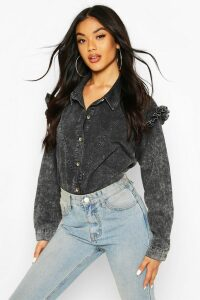 Womens Acid Wash Frill Shoulder Denim Shirt - Black - 8, Black