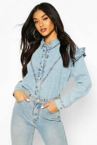Womens Acid Wash Frill Shoulder Denim Shirt - Blue - 12, Blue