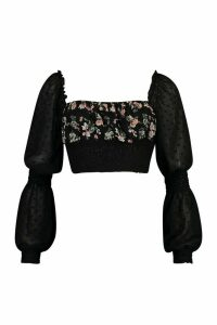 Womens Floral Shirred Dobby Mesh Blouse - black - 14, Black