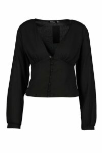 Womens Button Waist Plunge Woven Blouse - black - 12, Black