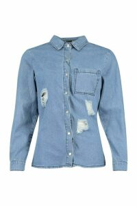 Womens Distressed Denim Shirt - Blue - 12, Blue