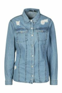 Womens Western Distressed Denim Shirt - Blue - 10, Blue