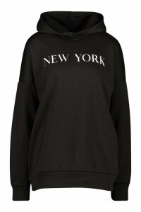Womens New York Slogan Oversized Hoody - Black - M, Black