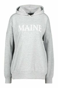 Womens Maine Slogan Oversized Hoody - grey - M, Grey