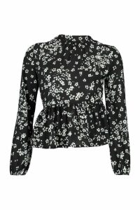 Womens Ditsy Floral Blouse - black - 14, Black