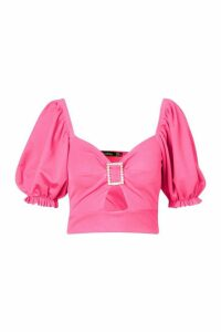 Womens Puff Sleeve Cut Out Crop Top - Pink - 14, Pink