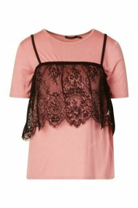Womens 2 In 1 T-Shirt & Removable Lace Cami - Pink - 14, Pink