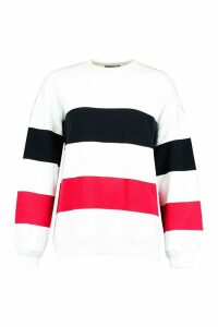Womens Colour Block Stripe Oversized Sweatshirt - white - 12, White